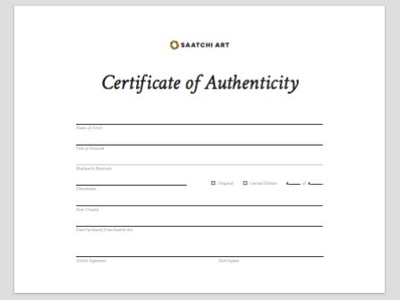 100 limited edition print certificate of authenticity