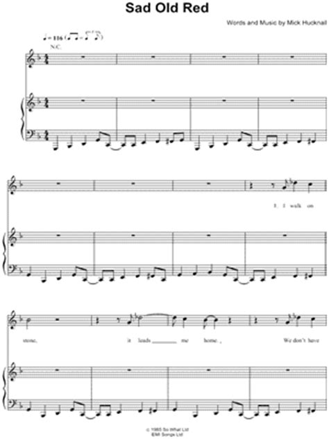 sad old songs simply red quot sad old red quot sheet music download print