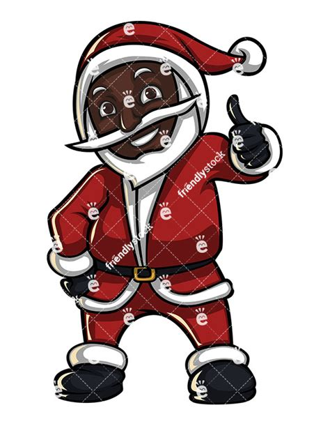 black santa claus thumbs up cartoon vector clipart