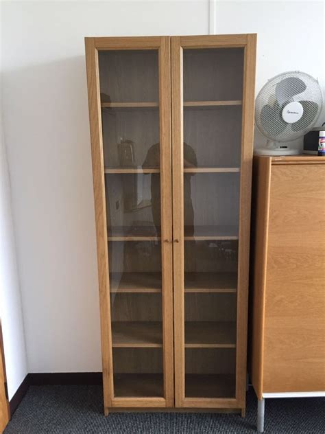 Ikea Oak Billy Bookcase With Glass Doors In Linwood Oak Bookcase With Doors