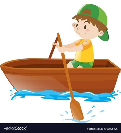 little cartoon boat little boy rowing boat alone royalty free vector image