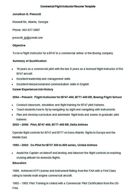 Flight Instructor Resume Resume Ideas Commercial Pilot Resume Template