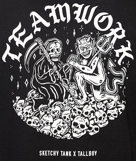 sketchy tank x tallboy teamwork black t shirt zumiez