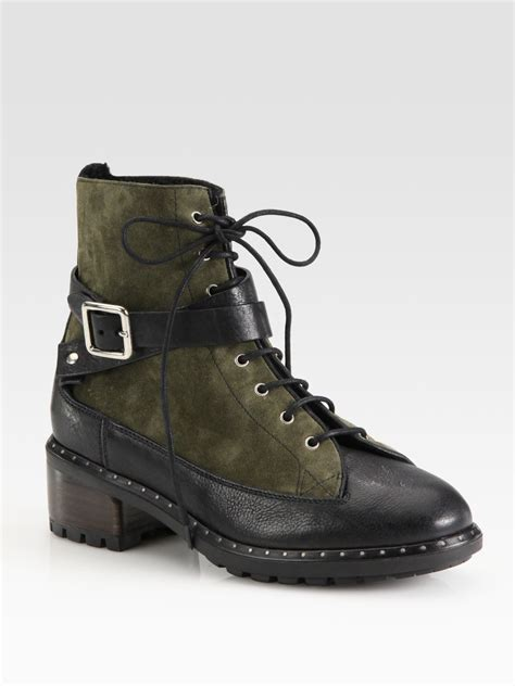 ugg combat boots ugg sassari leather suede combat boots in green army