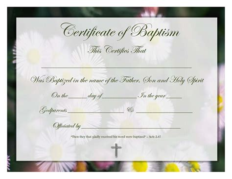 certificate of baptism template free printable baptism certificate template search