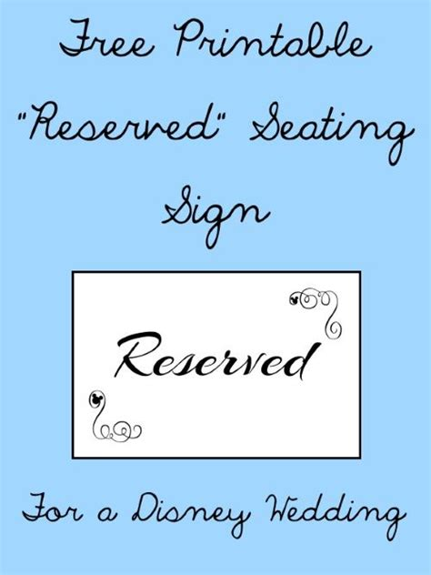 Reserved Seating Card Template Ceremony by Free Printable Reserved Seating Signs For Your Wedding