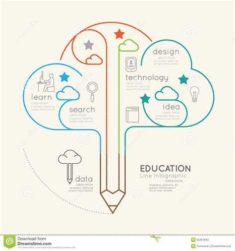 Flat Linear Infographic Education Pencil Cloud Outline Concept Stock Vector Image 50497643 Linear Flat Family Tree Infographics