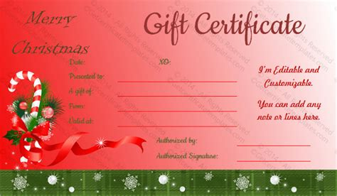 20 holiday gift certificate templates free sle