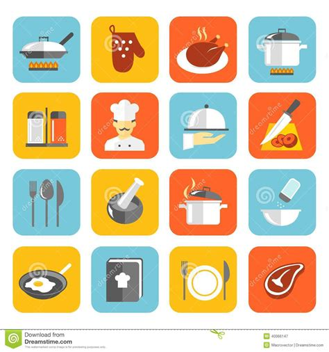 Fast Food Kitchen Design cooking icons flat stock vector image 40066147