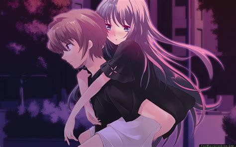 wallpaper girl and boy download anime boy girl night street back wallpaper free