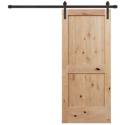 Door Groove 28 In X 96 In Knotty Alder 2 Panel Top Barn Door Menu