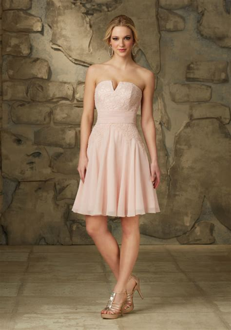Madeline Pastel Dress chiffon bridesmaids dress with beaded lace shoulder straps