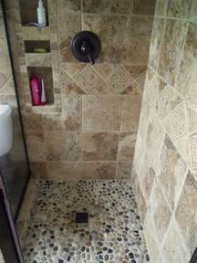 river rock shower wall