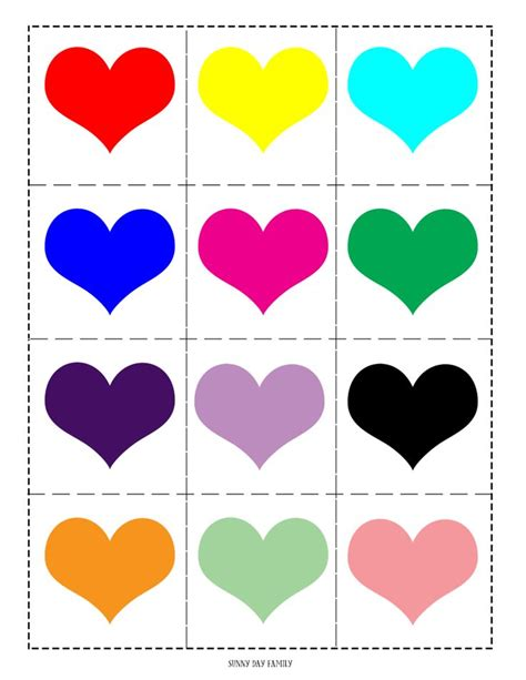 colored hearts free printable matching for
