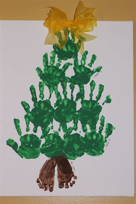 christmas tree crafts for preschool using handprint handprint footprint tree footprint is 4 mo baby handprints are 2 and 4