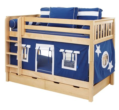 blue bunk bed maxtrix blue white curtain for low loft and bunk bed