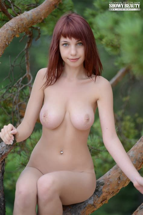 Marvelous Busty Redhead Hippy Girl Stripping Clothes And Posing In The Nude In The Woods