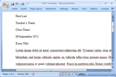 Mla Format Mla Template In Word 2007 Page 03 Mla Template Microsoft Word