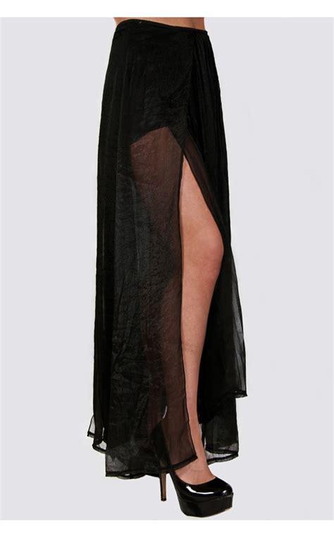 zoe chiffon side split maxi skirt in black from