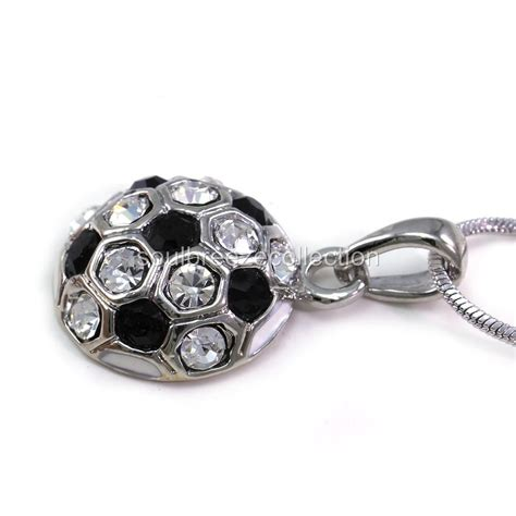 sports for jewelry white black soccer foot sports pendant necklace clear