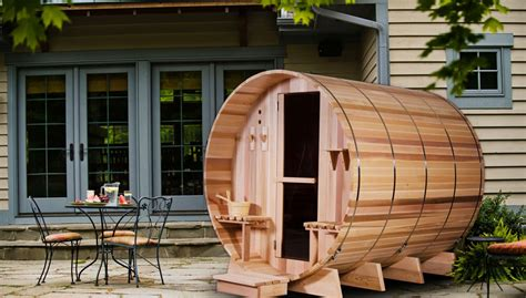 the grandview barrel sauna is a backyard oasis for the