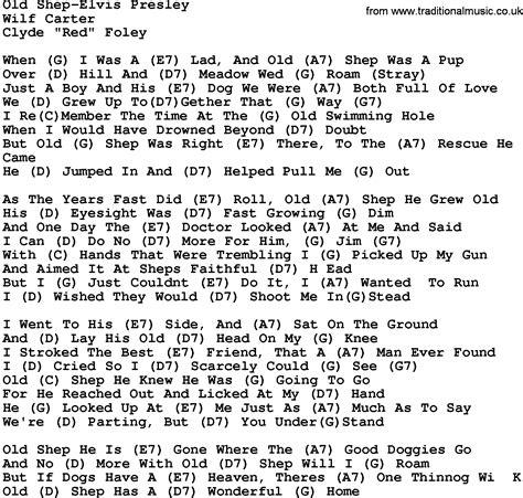 printable elvis lyrics country music old shep elvis presley lyrics and chords