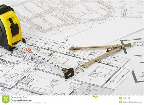 Workshop Floor Plans by Construction Drawing Royalty Free Stock Photos Image