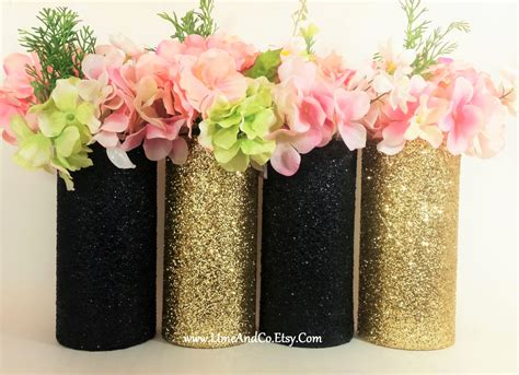 Wedding Centerpiece Gold Wedding Decor Cylinder Vase Black Vases For Wedding Centerpieces