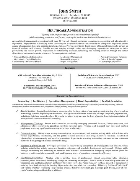 Healthcare Resumes by Healthcare Administration Resume By C Coleman