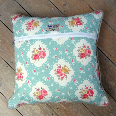 shabby chic floral rose cushion by lovely jubbly