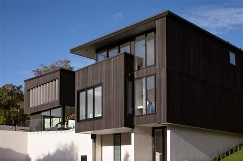 Pitch Pine Interior Doors Composite Siding Exterior Modern With Cantilevered Cliff