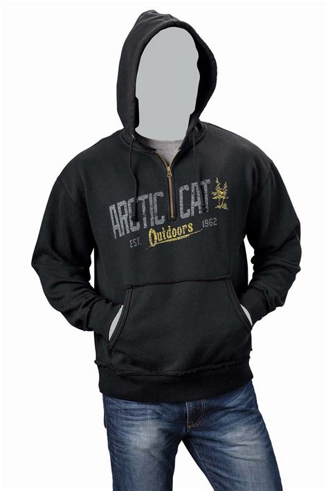 Hoodie Arctic Cat arctic cat inc arctic cat outdoors 1 4 zip hoodie black medium arctic cat outdoors 1 4 zip