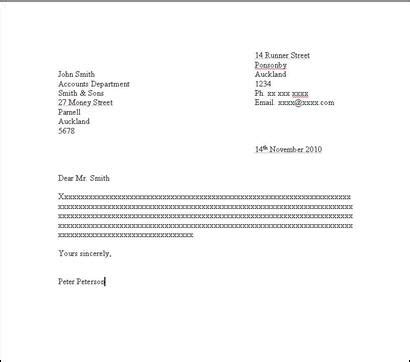 Business Letter Layout Nz letter writing how to set out a formal letter yellow
