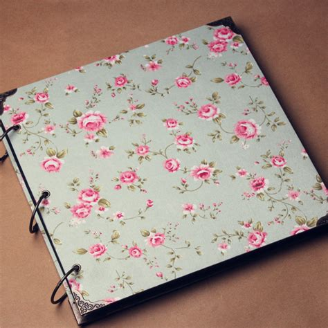 pattern fabric covered photo album vintage fabric cloth cover 16 inch diy album stick