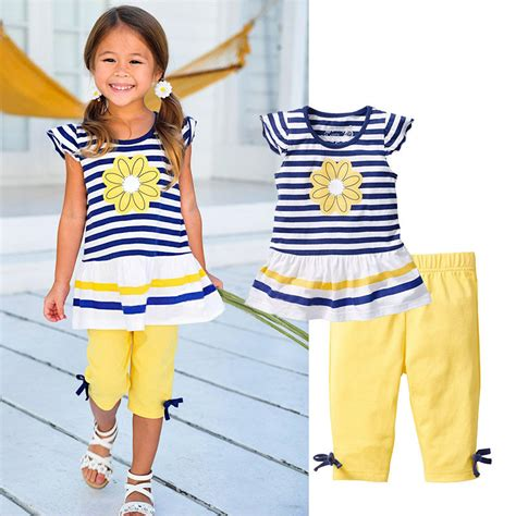 Girlset Kp Yellow Style 2016 brand summer clothing sets fashion striped