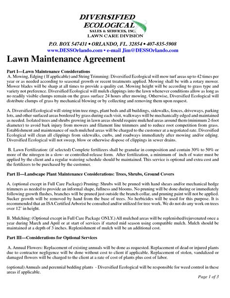 Lawn Maintenance Contract Agreement Free Printable Documents Commercial Lawn Care Contract Template