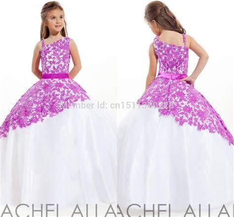 Sale Kid Dress Lace Hellen beautiful purple lace overlay one shoulder 2014 girs pageant dresses sale