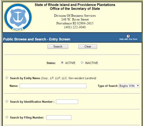 Search Ri Rhode Island Business Entity And Corporation Search Ri