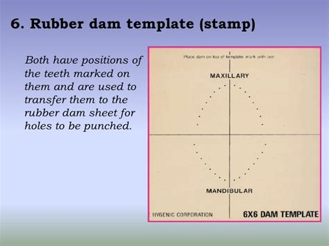 dental dam template rubber dam isolation