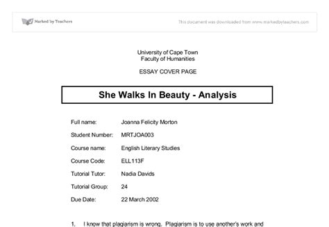She Walks In Essay by She Walks In Analysis Linguistics Classics And Related Subjects Marked