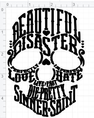 Beautiful Disaster Word Cloud Design SVG EPS DXF Studio 3