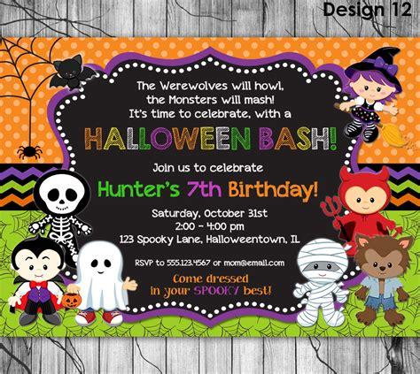 Kids Halloween Birthday Invitations | halloween birthday invitation printable kids halloween party