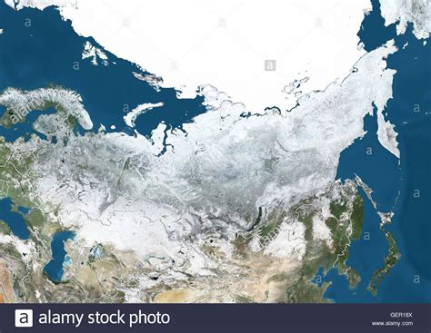 russia map satellite satellite view of russia and central asia in winter with