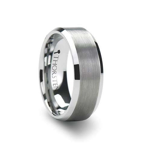 white tungsten carbide ring with brushed center and