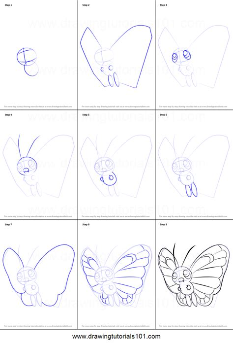 doodle drawing how to how to draw butterfree from printable step by step