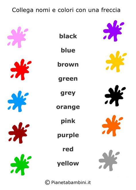 colori per bambini colori in inglese per bambini schede didattiche da