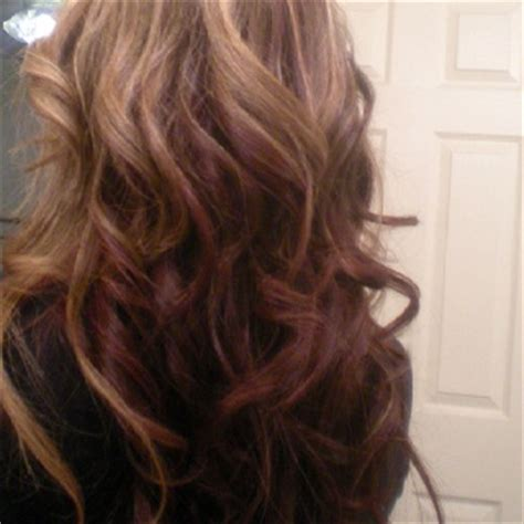 burgandy caramel and brown highlights caramel highlights with burgundy color underneath my new