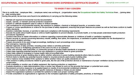 Occupational Health Technician Cover Letter by Safety Work Experience Certificates