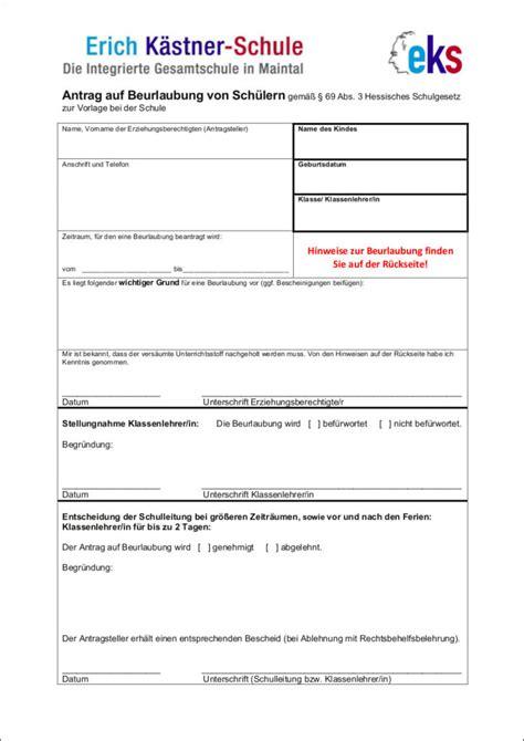 Vorlage Antrag Beurlaubung Schule antrag auf beurlaubung