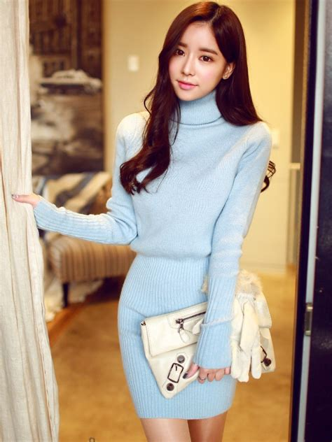 Korean Style Highneck Knitwear Blouse Sleeve Okc95 korean ulzzang style turtleneck sleeved bodycon knit sweater dress wsdear